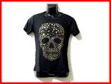 ★ゴールド星のスカルプリント 半袖 Tシャツ 丸首 黒