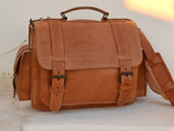 Vintage Handmade natural full grain leather briefcase bookbag schoolbag messenger bag from Greece