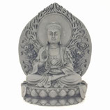 Boeddha zittend op lotustroon voor wand - Groot