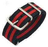 20mm NATO Armband Nylon schwarz mit 2 roten Streifen