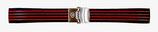 18mm VOSTOK Armband aus Silikon, schwarz mit roten Streifen