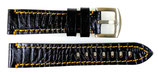 20mm hochwertiges AVIATOR Lederarmband aus Kalbsleder, Krokodil - Imitat, schwarz mit orangefarbener Steppnaht ARM-LD20-07