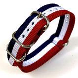 18mm ZULU Armband Nylon Blau / Weiß / Rot (ZULU07-18mm)