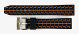 20mm VOSTOK Armband SPORT aus Silikon, schwarz / orange