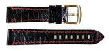20mm hochwertiges AVIATOR Lederarmband aus Kalbsleder, Krokodil - Imitat, schwarz mit roter Steppnaht ARM-LD20-06