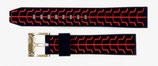 22mm VOSTOK Armband SPORT aus Silikon, schwarz / rot