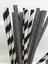 Papieren rietjes zwart en wit -2 dessins