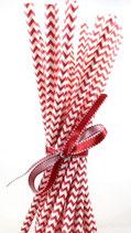 Papieren rietjes chevron rood en wit