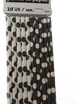 Papieren rietjes zwart & wit dots