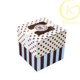 Cupcake doosje blauw en bruin