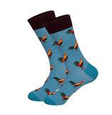 Socken mit Hahn, blau