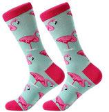 Socken mit Flamingo, türkis pink