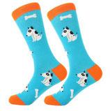 Socken mit Hund, blau Comicstyle