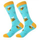 Socken mit Biene, blau