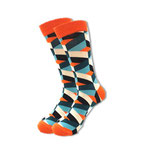Mustersocken, Orange blau