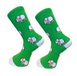 Socken mit Schafen, Grün