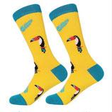 Socken mit Tukan, gelb