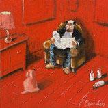 Thomas Bossard, huile sur Toile - Monochrome