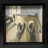 Thomas Bossard, huile sur Toile - Les Raboteurs de parquet, d'après Caillebotte