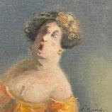Thomas Bossard, huile sur Toile - La cantatrice