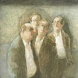 Thomas Bossard, huile sur Toile - 4 hommes