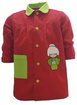 00060100 Babi colegio Geisha roja combinada con verde pistacho.