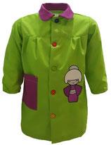 00060100 Babi colegio Geisha verde pistacho combinado con morado cardenal.