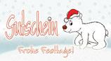 """Flaschenpost Eisbär """"Gutschein, Frohe Festtage!"""""""