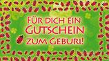 """Flaschenpost Käfer """"FÜR DICH EIN GUTSCHEIN ZUM GEBURI!"""""""