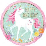 """1 Folienballon - Ø 45cm – Happy Birthday Einhorn"""""""
