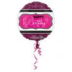 1 Folienballon - Ø 45cm - Geburtstag Pink Damask