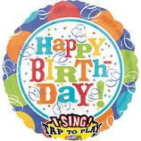 """1 Musikballon - Ø 71cm – Happy Birthday blau bunt"""""""