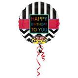 1 Musikballon - Ø 71cm – Happy Birthday to you schwarz weiß