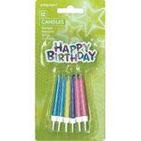 12 Geburtstagskerzen mit Kerzenhalter