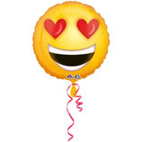 1 Folienballon – verliebtes Emoticon - Ø 45cm