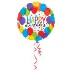 1 Folienballon - Ø 45cm - Happy Birthday Ballons