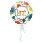 1 Folienballon - Ø 45cm - Happy Birthday Retro Style