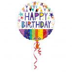 1 Folienballon - Ø 45cm - Geburtstag Dreiecke