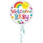 1 Folienballon - Ø 43cm – Willkommen Baby Sonne