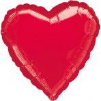 1 Folienballon - Ø 45cm - Herz - Rot