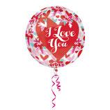 1 Folienballon - I Love You – Blumen - Ø 40cm