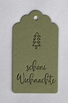 """""""schöni Wiehnachte"""", Papierfarbe grün"""