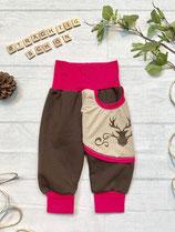 Trachtenpumpi Baumwollsweat pink/ braun