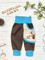 Trachtenpumpi Baumwollsweat blau/ braun