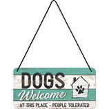 Nostalgic-Art PfotenSchild - Dogs Welcome, Hängeschild 10x20 cm