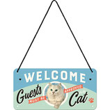 Nostalgic-Art Welcome Guests Cat, Hängeschild 10x20cm