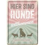 Nostalgic-Art PfotenSchild - Hunde willkommen, Blechpostkarte 10x14 cm