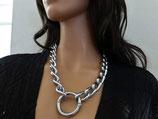 """Halskette, """"Mega-Schwer"""", gedrehte Kette 17x5mm, mit Ring, Stahl Chrom"""