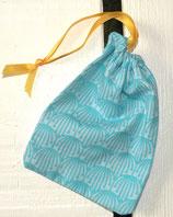 Petite pochette pour cup en tissu bio - Modèle Bleu