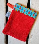 Gant de toilette d'apprentissage - rouge fruits turquoise
